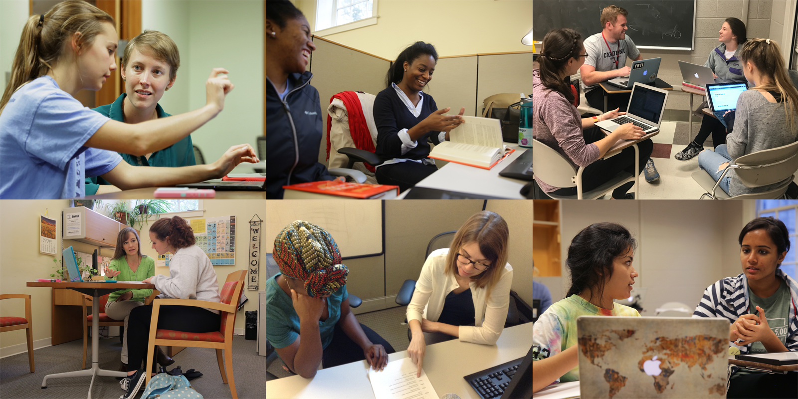 Collage of staff working with students.